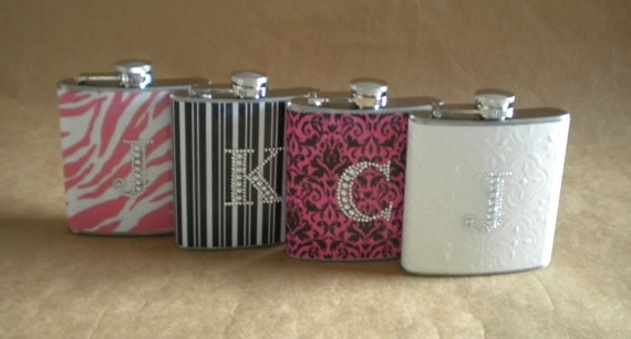 Bachelorette Party Gifts ANY 4 Girly Print Designs 6 ounce Stainless Steel Flasks with ANY Rhinestone Initials KR2D 5625