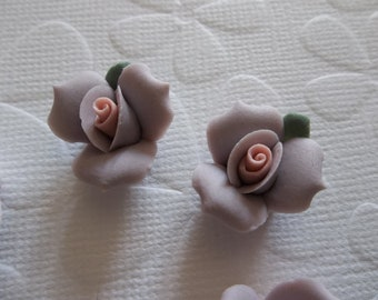 Soft Pastel Purple Ceramic Rose Flower Flat Back 17mm Cabochons with Green Leaf Qty 6