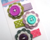 Felt flower baby snap clips, set of 3 - purple lavender berry