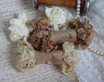 Shabby Wrinkled AGED PAPER ribbon bundle, 15 yards