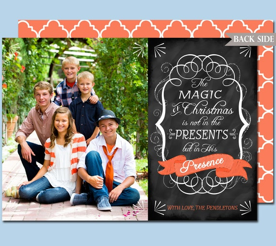 Items Similar To Photo Christmas Card Chalkboard Style