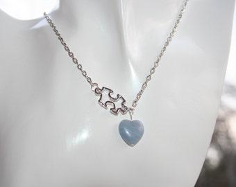 Heart Puzzle Piece Autism Love Lariat Necklace