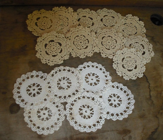 Crocheted Crochet Coaster Coasters Doilies Ornament Home Decoration Scrapbooking Clothing Embellishment Circle Round Destash Upcycle