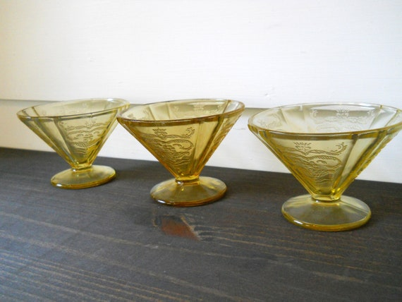 Clearance.... was 16 -Vintage Madrid depression glass ice cream dishes in amber