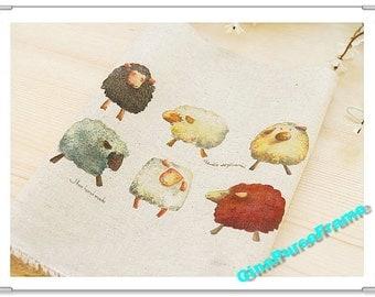 Fat Quarter--Hand paint Linen Cotton Fabric - Six Sheep