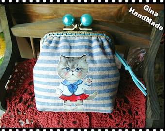 Sailor Cat Blue pearl-bead metal frame purse / Coin Wallet / Pouch coin purse / Kiss lock frame purse bag-GinaHandmade
