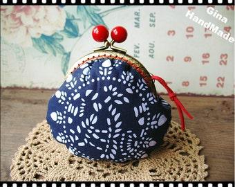 Blue Calico Metal frame purse/coin purse / Coin Wallet /Pouch / Kiss lock frame bag-GinaHandMade