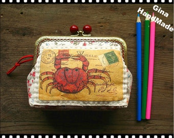 Crabe Postcard Vintage style Red-bead  Metal frame purse/coin purse / Coin Wallet /Pouch / Kiss lock frame bag-GinaHandMade