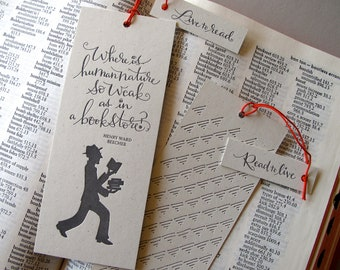 LETTERPRESS BOOKMARK - Where is human nature so weak as in a bookstore. Henry Ward Beecher