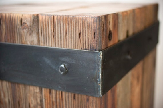 Reclaimed bundled wood beams & steel strap accent table.. Featured at ...
