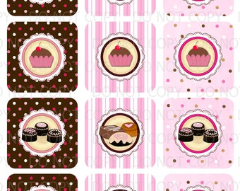 Printable DIY Sweet Shoppe Chocolate Neopolitan Cupcake Toppers
