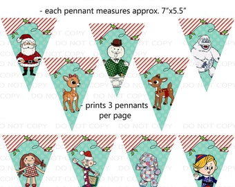 Printable DIY Rudolph Movie Inspired Party Banner Pennants