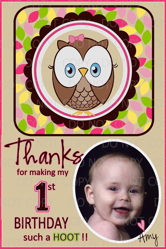 Printable DIY Owl First Birthday Theme Thank You Card - Personalized with photo