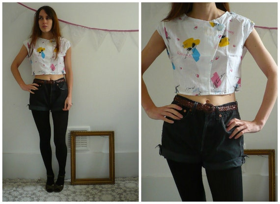 1980's Holiday Print Crop Top Size XS
