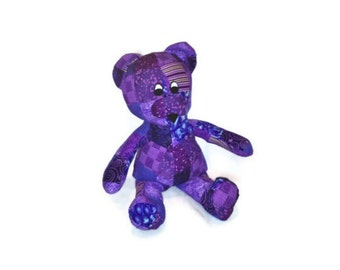 Bear Stuffed Animal Purple Huggable Patchwork Ready to Ship baby shower gift baby girl kids