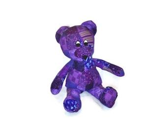Bear Stuffed Animal Purple Huggable Patchwork Ready to Ship baby shower gift baby girl kids