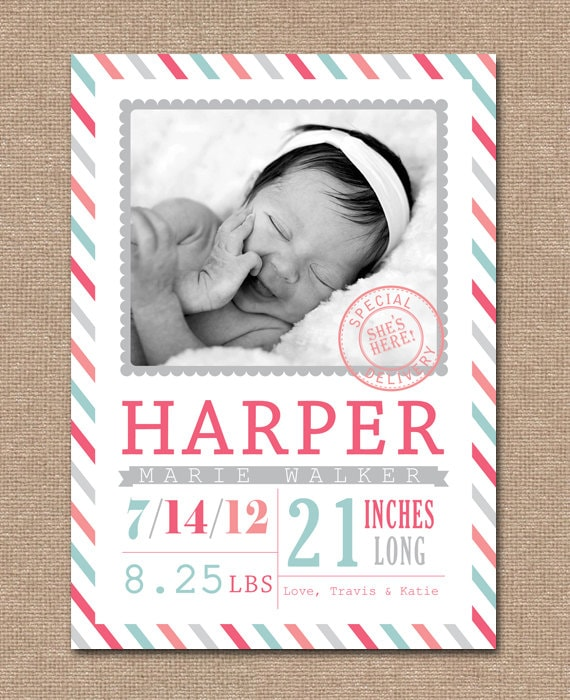 BABY Announcement BIRTH Announcement Baby GIRL Birth Card