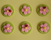 One Dozen Edible Flowers with Ladybugs cupcake toppers