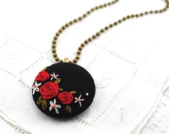 Folk Floral Embroidered Necklace, hand embroidered red black flower pendant, recycled silk