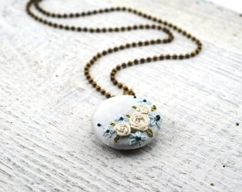 Ice Blue Embroidered Necklace, Winter Fashion, hand embroidered pendant, recycled silk jewelry, under 50