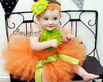 BABY PUMPKIN COSTUME....2 pc. set....includes matching headband and tutu....size newborn - 2T