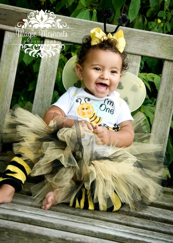 "BABY BUMBLE BEE costume tutu 3 pc.set...Baby Costume, Up to 8"" length....sizes newborn through 2T available"