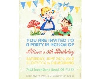 Digital PRINTABLE Vintage Woodland Fairy Garden Gnome Girl Boy Bubbles Celebrate Birthday Tea Party Children Banner Invitation Cards IN38