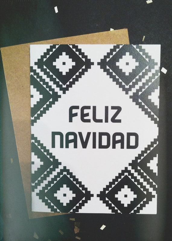 Graphic Feliz Navidad card-White and Black-A2/