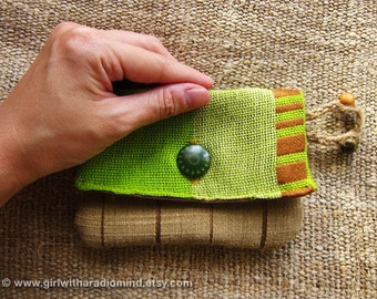 Coin Purse  in Lime Green - Indie Earthy Brown Stripe Silk Fabric