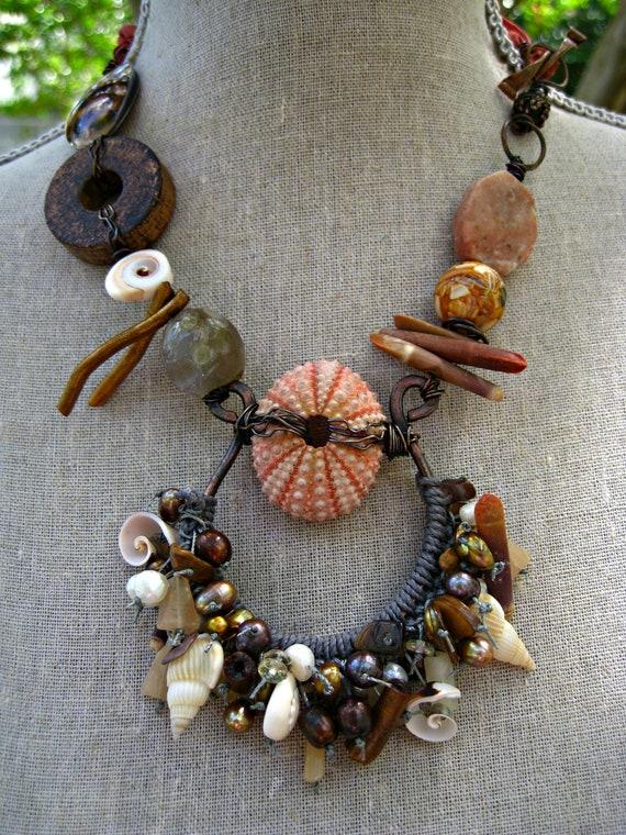 Moobie Grace  - Necklace - Tribal Talisman - Sea Urchin - Belly Dance - Copper - Sari Silk