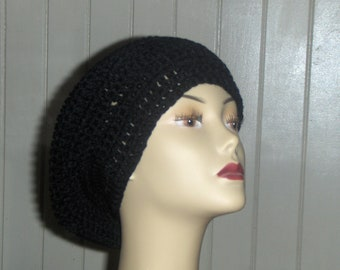 Black Mamba Jamaican Style Crochet Acrylic Yarn Slouchy Hat- jet black acrylic yarn for dread locks hair tucking. Made to Order
