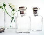 Perfume Bottles Antique Vanity  Set  Sterling Silver Lids