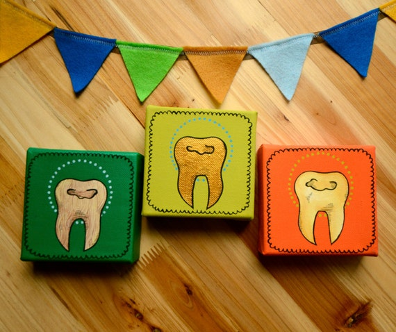 teeth painting on canvas / bright original wall art