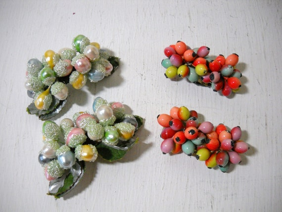 Vintage Tutti Fruity Berry Bead Shoe Clips Pretty Pastels and Bright Colors