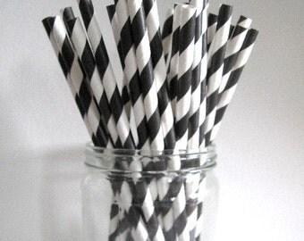 GREAT LOW PRICE 25 Black Striped Paper Straws Wedding Birthday Halloween Baby Shower Party / Cake Pop