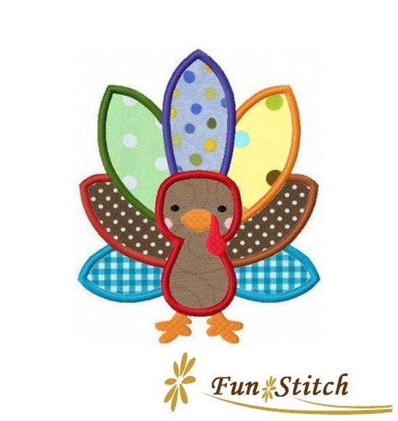 Thanksgiving turkey applique machine embroidery by funstitch