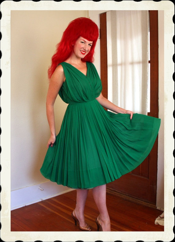 RARE & Killer 1950's Rich Emerald Green Silk Chiffon Grecian Pleated New Look Party Dress by Kimie - Elizabeth Taylor Style - VLV - Size M
