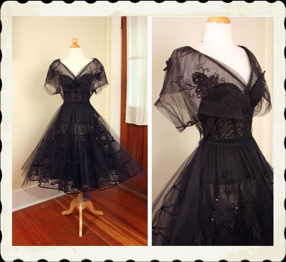 INSANELY AMAZING 1950's New Look Deepest Midnight BlueBlack Sheer Tulle Party Dress w Floral Appliques & Rhinestones - Huge Collar - Size XL