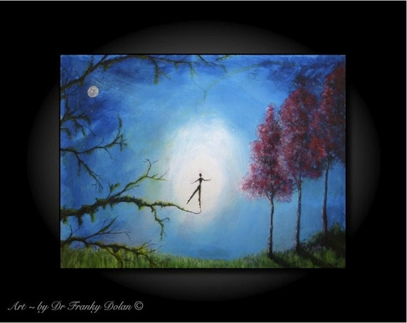 About To Leap. Canvas Hand Embellished Original Matted Painting-Print by Fae Factory Fantasy Artist Dr Franky Dolan (Wall Art Canvas Print)