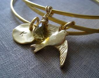 Bird charm bangle, initial bracelet, Personalized jewelry, bridesaid gift birthstone charm, set of 3 stacking bangle bracelet