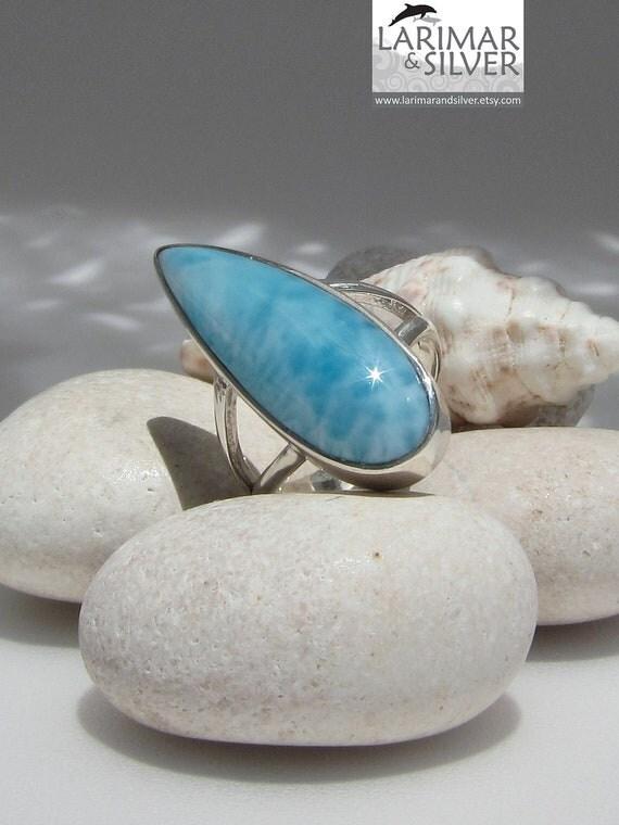 Larimar stone ring, Caribbean Surf - beautiful soft turquoise Larimar gemstone - US 5.5