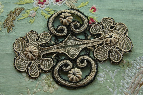 1 antique French metal lace applique passementerie handmade millinery trim