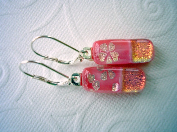 Peach Blossom  Dichroic Glass Earrings