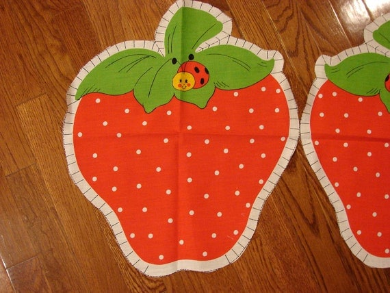 Vintage 1980s Strawberry Shortcake Fabric Panel - Stuff and Sew Pillow
