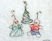 Tree ornaments hand crafted  copper wire set of boy girl tree - AntsyArtist