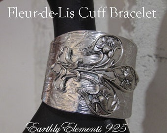 Fleur-de-Lis  set on a Hammered and Stamped Aluminum Wide Cuff - Neo  Victorian