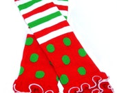 Christmas Polka Dot Legwarmers with Ruffled Edge fits ages 6mo - Girls 8/10...ready to ship