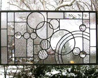 """Arts and Crafts Style Circle Study-11.5"""" x 21""""--Stained Glass Window Panel"""