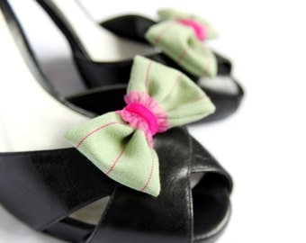 Shoe Clips - Mint Pink Pinstripe Bows. Shoe Accessories. Handmade. Upcycled Fabric.