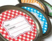 Gingham Canning jar labels, 2 inch round for fruit and vegetable preservation, jam and jelly, regular or wide mouth available